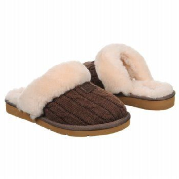 Ugg Shoes Cozy Knit Slipper Brown Authentic Wool Cable Poshmark